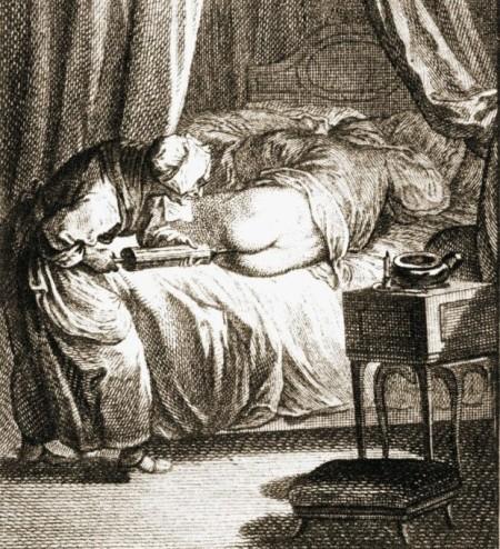z17056088Q,XVIII-wieczna-rycina-przedstawiajaca-zabieg-purgac